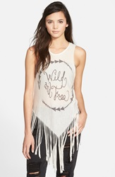 Living Doll 'Wild And Free' Fringe Tank Juniors Oatmeal