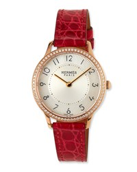 Slim D'hermes Watch With Diamonds And Red Alligator Strap