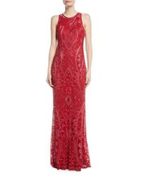 Parker Black Seanna Beaded Sleeveless Column Gown Cherry Red