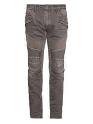 Balmain Biker Low Rise Slim Leg Jeans Light Grey