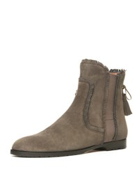 Aquazzura Fringe Beatle Suede Flat Boot Urban Grey
