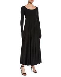 Awake Scoop Neck Pleated Long Dress With Gloves Black