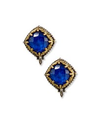 Konstantino Faceted Crystal Quartz Over Lapis Button Earrings Blue
