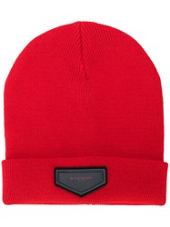 Givenchy Patch Detail Beanie Men Acrylic Wool One Size Red