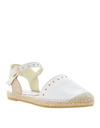 Dune Joka Leather Espadrilles White