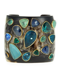 Ashley Pittman Scattered Stone And Dark Horn Cuff Bracelet Multi