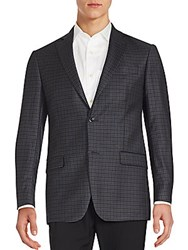 Michael Kors Plaid Two Button Wool Blazer Charcoal Black