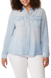 Rebel Wilson X Angels Plus Size Women's Embroidered Chambray Utility Shirt Seaside