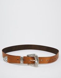 Asos Leather Western Tip Waist And Hip Belt Brown