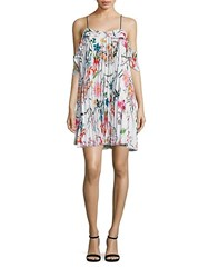 Delfi Collective Elisa Floral Cold Shoulder Ruffle Dress White Multi