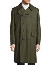 Red Valentino Double Breasted Long Coat Olive Green Men's