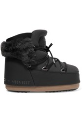 Moon Boot Buzz Faux Fur Trimmed Neoprene And Faux Leather Snow Boots Black