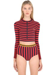 Stella Mccartney Striped Lycra Cropped Rash Guard