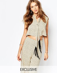 Reclaimed Vintage Scarf Neck Crop Top With Deep V Neck Co Ord In Polka Dot Print Multi