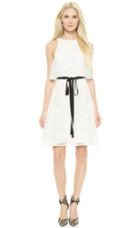 Monique Lhuillier Lace Dress With Overlay Silk White
