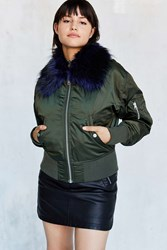 Silence And Noise Fun Faux Fur Pilot Bomber Jacket Olive