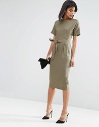 Asos Belted Wiggle Dress In Linen Khaki Green