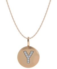 Macy's 14K Rose Gold Necklace Diamond Accent Letter Y Disk Pendant