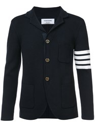 Thom Browne Ribbed Knit Blazer Wool Blue