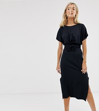 Bershka Midi Dress With Tie Waist In Black Black