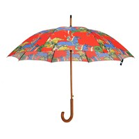 Jessica Russell Flint Galloping Horses Wooden Handle Umbrella Red