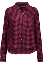 Etoile Isabel Marant Rian Checked Crinkled Chambray Shirt Red