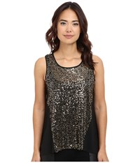 Bb Dakota Calix Crepe De Chine Sequin Top Black Women's Blouse