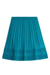 M Missoni Flared Crochet Knit Skirt Turquoise