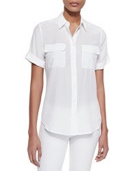 Equipment Short Sleeve Slim Signature Silk Blouse Bright White