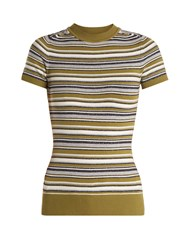 Joostricot Crew Neck Striped Short Sleeved Knit Sweater Multi