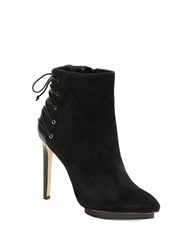 424 Fifth Attis Leather Lace Back Platform Stiletto Booties Black