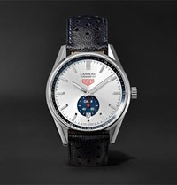 Tag Heuer Carerra Automatic Chronograph 39Mm Polished Steel And Leather Watch Navy