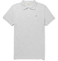 Maison Kitsune Melange Cotton Pique Polo Shirt Gray
