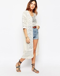 Warehouse Cream Longline Festival Cardigan Oatmeal