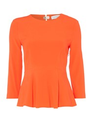 Ivy And Oak Longsleeve Peplum Top With Round Neck Orange