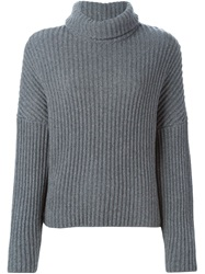 Dusan Ribbed Roll Neck Sweater Grey