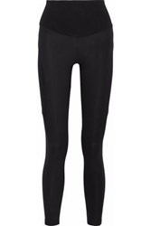 Yummie Tummie Paneled Coated Stretch Cotton Jersey Leggings Black