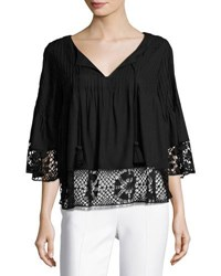 Tularosa Huxley Crochet Trim Top Black