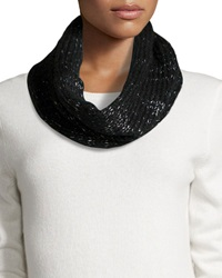 Hat Attack Metallic Knit Loop Scarf Black Silver