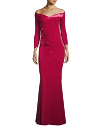 Chiara Boni La Petite Robe Kaliska Off The Shoulder Long Sleeve Evening Gown W Velvet Garnet