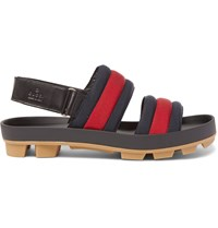 Gucci Webbing And Leather Sandals Blue