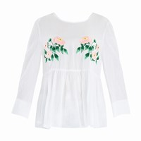 Paisie Embroidered Floral Top With Peplum Hem And Button Down Back