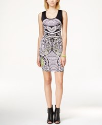 Rampage Juniors' Printed Front Bodycon Dress Black White Art Deco