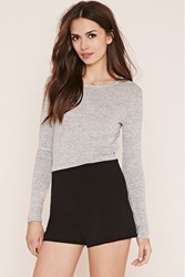 Forever 21 Marled Knit Crop Top Heather Grey