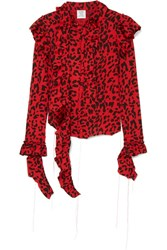 Vetements Frayed Ruffled Leopard Print Stretch Jersey Blouse Red Gbp