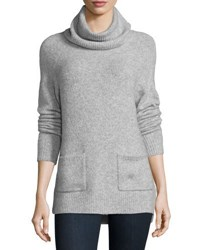 Joie Agnetha Oversized Turtleneck W Pockets Heather Gray
