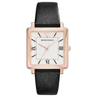 Emporio Armani Ar11067 Women's Square Leather Strap Watch Black White