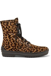 Tod's Leopard Print Calf Hair Ankle Boots Leopard Print