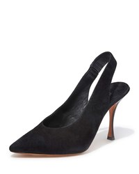 Alice Olivia Innet Suede Point Toe Slingback Pumps Black