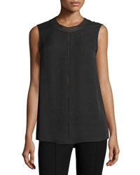 Vince Seam Detail Sleeveless Silk Top Black